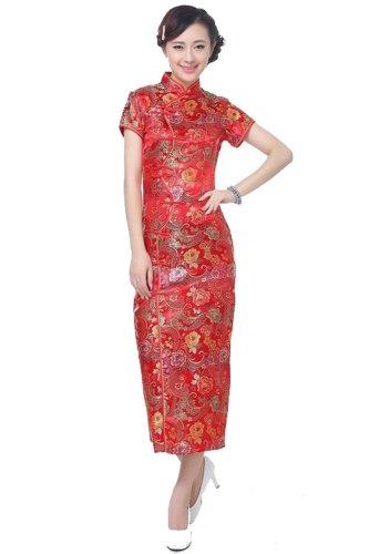 Rosso Vestito Fiore Lungo Delle Cinesi Dieci Donne Pulsanti Broccati Acvip CqHfwzxq