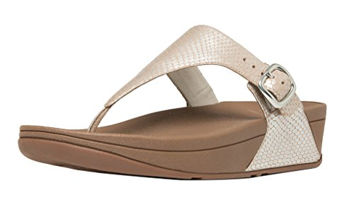 (FitFlop Women's The Skinny Leather Flip-Flop Loafer, Silver Snake, 11 M US)
