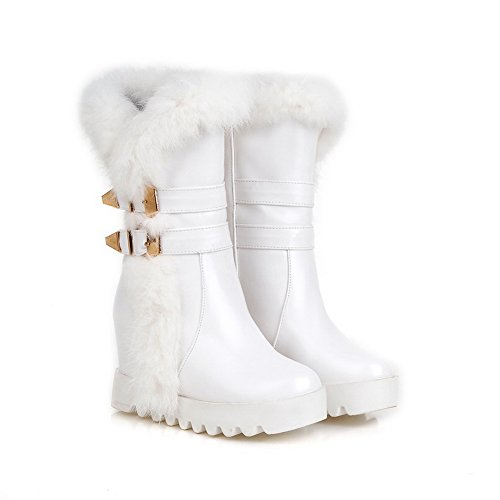 1TO9 Womens Boots Closed-Toe No-Closure Adjustable-Strap Warm Lining Fringed Waterproof Mid-Top Soft-Ground Cold-Weather Urethane Boots MNS02274 White F2UvasLx