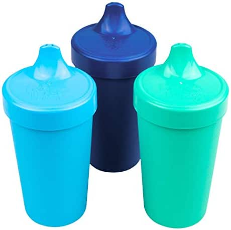 Re-Play Made in USA 3pk Toddler Feeding No Spill Sippy Cups | 1 Piece Silicone Easy Clean Valve | Eco Friendly Heavyweight Recycled Milk Jugs are Virtually Indestructible | Sky Blue, Navy, Aqua