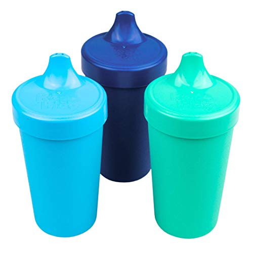 Re-Play Made in USA 3pk Toddler Feeding No Spill Sippy Cups for Baby, Toddler, and Child Feeding - Sky Blue, Navy Blue, Aqua (True Blue Collection) Durable, Dependable and Toddler Tough Sippy Cups! ()