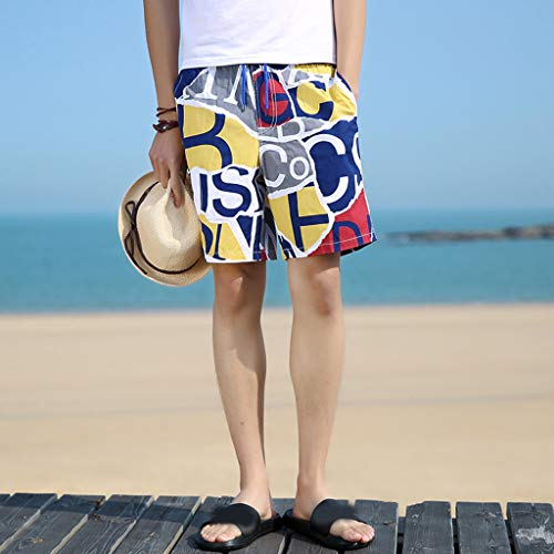 NUWFOR Men's Summer New Cotton Printed Short Sleeves Fashion Loose Size Beach Pants(Yellow,US L Waist:28.35-36.22'') by NUWFOR (Image #1)