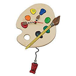 Allen Designs Art Time Whimsical Artist Palette Pendulum Wall Clock