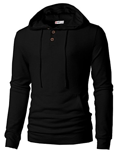 - H2H Men's Hipster Gym Long Sleeve Drawstring Hooded Pullover Hoodies Black US 3XL/Asia 4XL (CMTTL089)