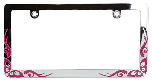 Custom Accessories 92833 Chrome Butterfly Tattoo License Plate Frame, Pink