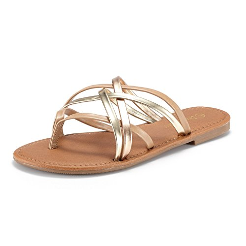 DREAM PAIRS Womens Slipp_01 Fashion Crossover Thong Design Slides Flat Sandals