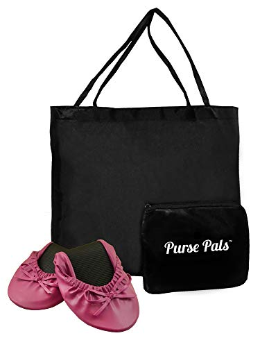 Solemates Purse Pal Foldable Bowed Ballet Flats w/Expandable Tote Bag for Carrying Heels (X-Large (11-12), Fuschia)