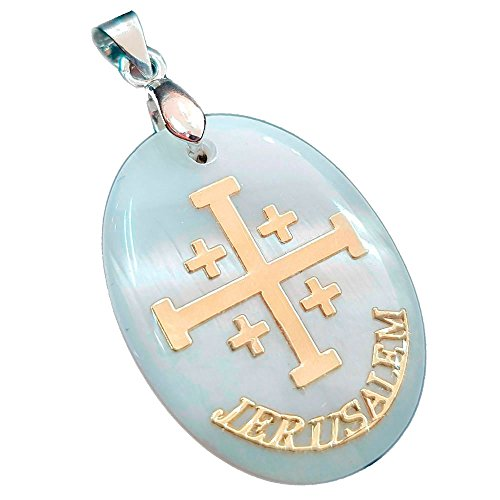 Mother Of Pearl Jerusalem Cross Pendant Handmade Necklace Religious Holy Land Gift