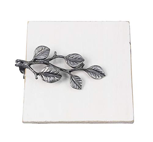 (Wooden Napkin Holder with Pewter Leaves)