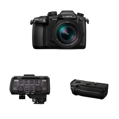 Panasonic LUMIX GH5 4K Mirrorless Camera with Lecia Vario-Elmarit 12-60mm F2.8-4.0 Lens (DC-GH5LK) with Professional Microphone Adaptor and  LUMIX GH5 Battery Grip