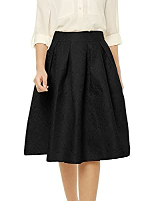 Allegra K Women's Floral Jacquard High Waist A Line Pleated Midi Skirt