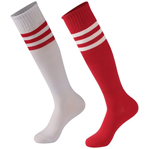 - Calbom Soccer Socks Men, Unisex Extra Long Athletic Rugby Football Soccer Sport School Team Tube Socks Pack of 2 White/Red