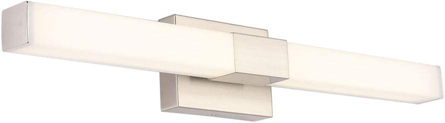 ECOBRT Bathroom Vanity Lamp Brushed Nickel 12W 23.62 inch Wall Mounted Vanity Lighting FixtureS with White Acrylic Square Tube Wall Sconce Pendant Lamp 4000K