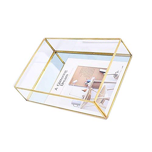 (Pahdecor Vintage Mirrored Makeup Decorative Vanity Tray Small Ornate Glass Makeup Jewelry Organizer Rectangle for Purfume,Bathroom Countertop,Kitchen,Dining Table)