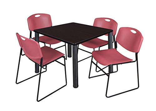 """Kee 36"""" Square Breakroom Table- Mocha Walnut/ Black & 4 Zeng Stack Chairs- Burgundy"""
