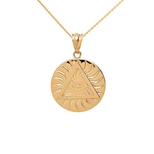 14k Yellow Gold Triangle Eye of Providence Illuminati All Seeing Eye Round Necklace, 16