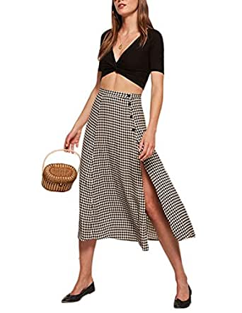 HaoDuoYi Women's Side Split Button Fly High Waist Sexy Vintage Midi Skirt Small Plaid