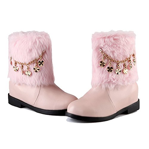 AllhqFashion Womens Low-Top Solid Pull-On Round Closed Toe Kitten-Heels Boots Pink 9Jlcq3
