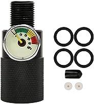 Akozon Fill Station Adapter Pressure Valve Air Filling Station Adapter with Pressure Gauge 40mpa 8mm 0.3in Mal