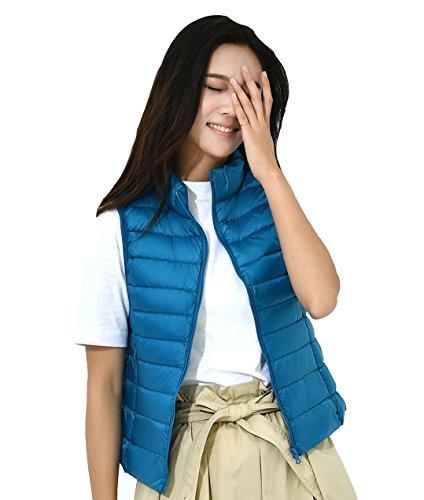 Gilet Fouriding Femme Hiver Down Bleu Duvet Courte Manches Vest Legere Doudoune sans Manteau Ultra Blouson de rISdWxSw4q