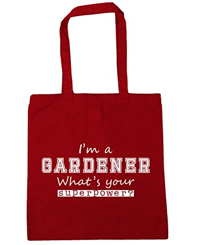 HippoWarehouse I'm a Gardener What's Your Superpower? Tote Shopping Gym Beach Bag 42cm x38cm, 10 litres Classic Red