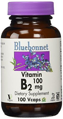 Bluebonnet Vitamin B-2 100 mg Vegetable Capsules, 100 Count by Blue Bonnet