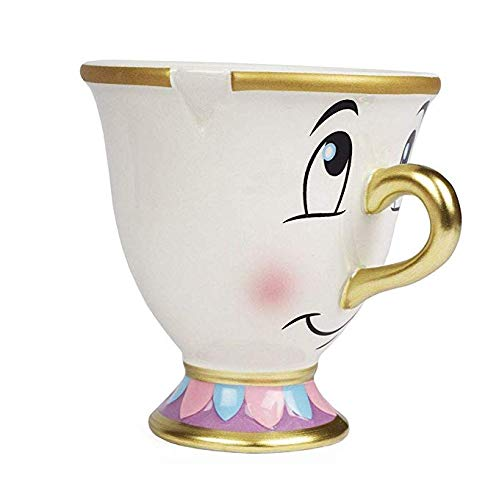 FAB Starpoint Disney Beauty and the Beast Chip Mug with Gold Foil Printing, Multicolor, 8 Ounces (Beauty And The Beast Pot And Cup)