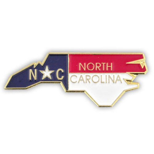 PinMart's State Shape of North Carolina and North Carolina Flag Lapel (State Lapel Pins)