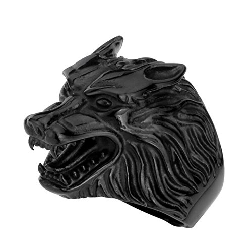 SINLEO Men's Wolf Head Stainless Steel Ring Vintage Werewolf Biker Band Black Size 12