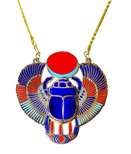 Enameled Choker - bonballoon Scarab Beetle Necklace Pendant Jewelry XL Enameled Egyptian Collar Choker Ancient Egypt Pharaoh Pharaohs Costume Accessory Jewelry Belly Dance