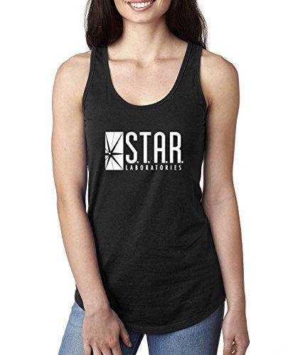 Star Labs Comic Fan | Womens Pop Culture Jersey Racerback Tank Top, Black, -