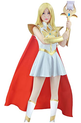 C-ZOFEK Power Princess Shera Cosplay Dress with Red Cloak (X-Small, White)