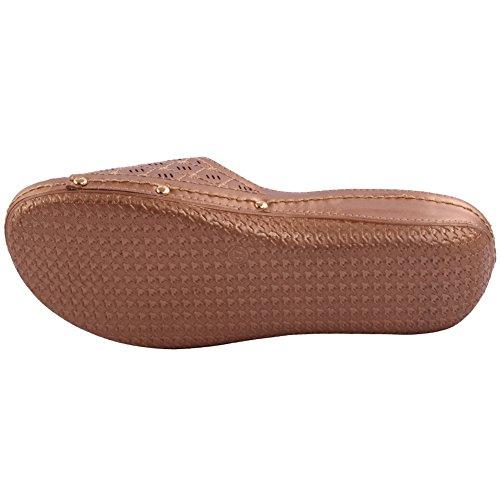 Unze Damen Damen Shuana Komfortable Open Toe Slip auf Low Heeled Casual Slipper Schuhe Größe 3-8 - 082-1 Rosen-Gold
