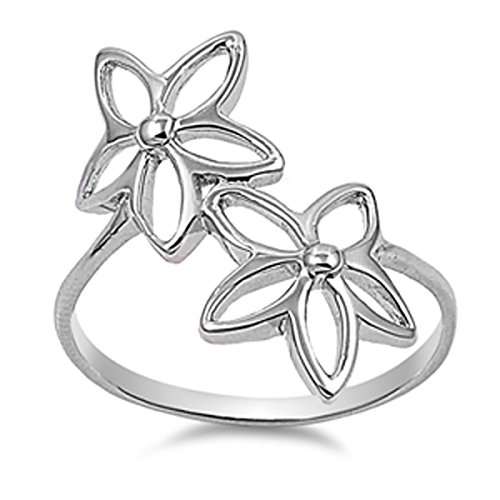 Daisy Cut Out (Sterling Silver Women's Daisy Cutout Flower Ring (Sizes 4-12) (Ring Size 11))