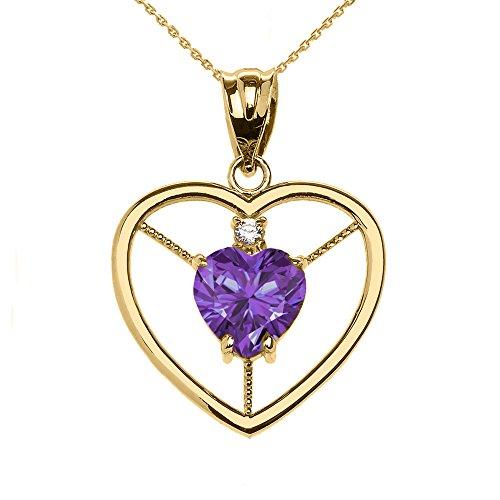 Collier Femme Pendentif Élégant 10 Ct Or Jaune Diamant et Juin Pierre De Naissance Clair Violet Oxyde De Zirconium Cœur Solitaire (Livré avec une 45cm Chaîne)