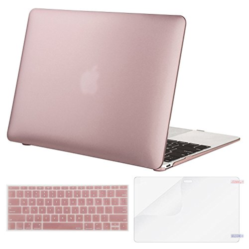 MOSISO Plastic Hard Shell Case & Keyboard Cover & Screen Protector Compatible MacBook 12 Inch Retina Display A1534 (Newest Version 2017/2016/2015), Rose Gold