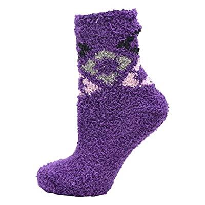 Soft Fuzzy Socks, 12 Pairs Womens Girls, Warm Microfiber Slippers with Non Skid Sole, Assorted Gift Pack (Diamonds - Crew (No Grippers)) at Women's Clothing store