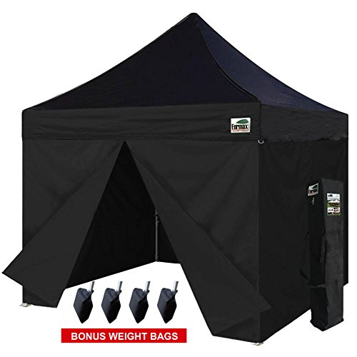 Eurmax 10 x 10 Ez Pop up Canopy Commercial Party Tent with 4 Zippered Sidewalls and Carry Bag Bonus Canopy Sand Bags, Black