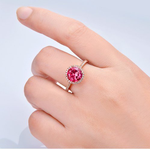GOWE 14kt Rose Gold 2.31ct Pink Topaz and 0.44ct Natural Diamond Engagement Ring 2