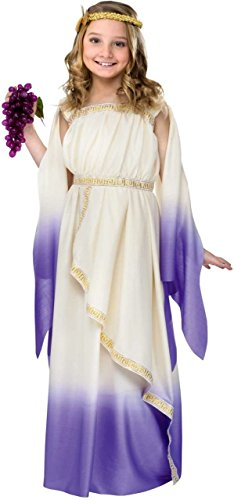Greek Goddess Child Costume White Purple - Medium -