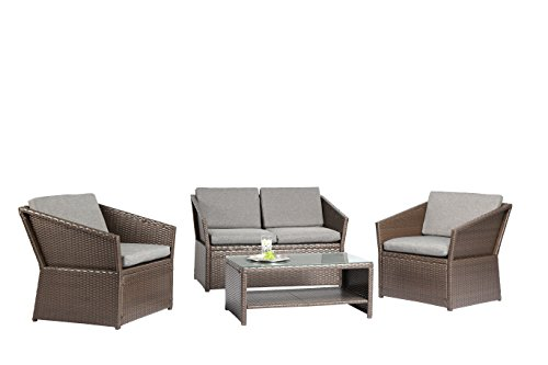Baner Garden N77-BROWN Outdoor Furniture Complete Patio 4 Piece Polyethylene Wicker Rattan Garden Set, Brown price