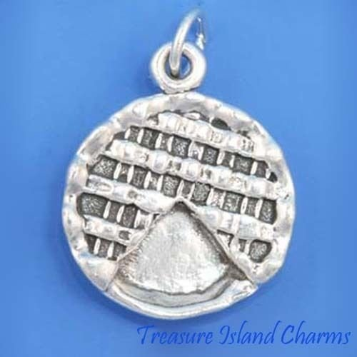 Heavy Apple Pie Dessert 3D .925 Solid Sterling Silver Charm Pendant MADE IN USA Jewelry Making Supply Pendant Bracelet DIY Crafting by Wholesale Charms