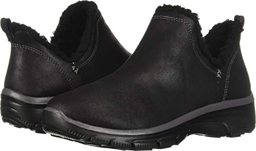 Skechers Women's Easy Going-Buried-Scooped Collar Bootie with Faux Fur Trim Ankle Boot, Black, 6.5 M US