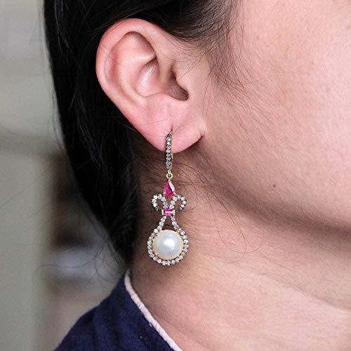 Pear Baguette Ruby Pave Diamond Pearl Dangle Earrings 925 Sterling Silver Gemstone Handmade Jewelry Valentine Jewelry