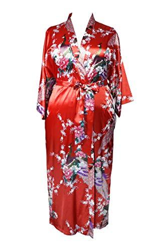 838 - Plus Size Peacock Japanese Women Kimono Sleep Robe, US Size 1X 2X 3X (Ruby Red) -
