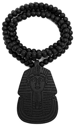 King Replicas Tut - GWOOD Pharaoh Good Wood 36 Inch Long Black Color Replica Pendant Necklace