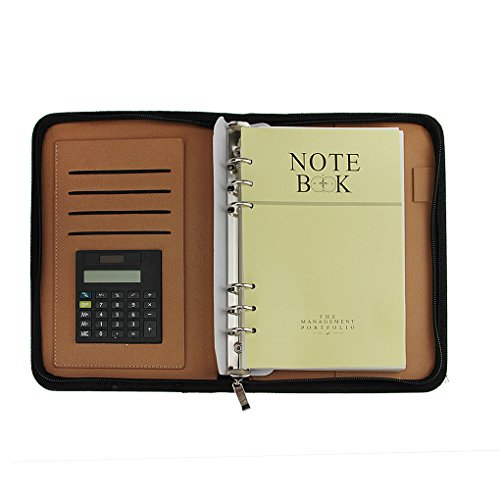 Up-scale PU Leather Cover A5 Zipper Notebook Spiral Bound Loose-leaf Business Notepad Travel Journal Diary Memo Book with Calculator Card Slot Pen Holder Loop Folder Organizer Office Stationery, Brown