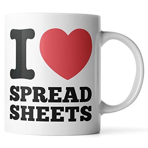 I Love Spreadsheets Mug - Data Analyst Mug - Business Analyst Mug - Financial Analyst Mug - King of Spreadsheets Mug - Spreadsheet Ninja Mug - White 11oz Coffee Mug or Tea Cup by Monkey Duo