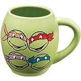 Vandor 38062 Teenage Mutant Ninja Turtles 18 oz Oval Ceramic Mug, Green, Red, Purple, and Orange