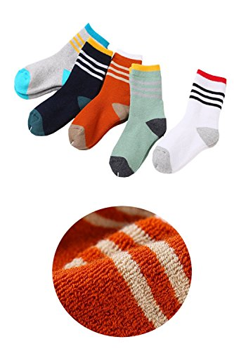 Kids Thick Towel Fuzzy Fluffy Winter Sports Striped Crew Quarter Socks Three Bars Cotton Contrast Colors Terry Socks 6/12 Pairs Pack for 3t 4t-8t Preschool Boys and Girls 6-8 Years (Air Max Halloween Pack)